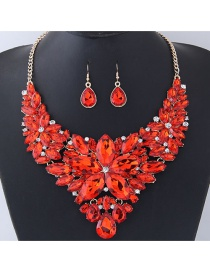 Fashion Red Gemstone Decorated Pure Color Jewelry Sets