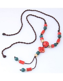 Bohemia Red Flower Decorated Long Necklace