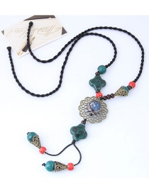Bohemia Green+red Hollow Out Flower Decorated Long Necklace