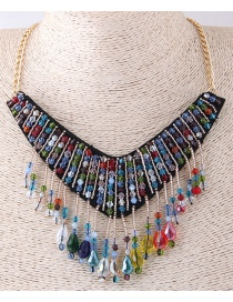 Fashion Multi-color Water Drop Shape Decorated Necklace