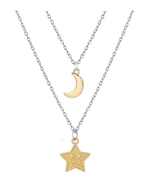 Elegant Gold Color Moon&star Decorated Double Layer Necklace
