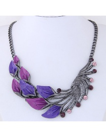 Fashion Purple Leaf Shape Decorated Necklace