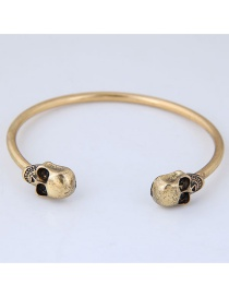 Personality Gold Color Skull Shape Decorated Opening Bracelets