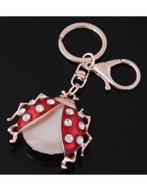 Fashion Gold Color Ladybug Shape Decorated Keychain