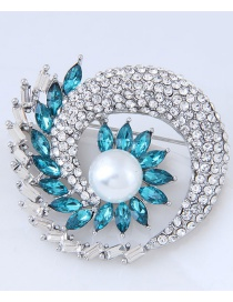 Fashion Silver Color+blue Geometric Shape Diamond Decorated Brooch