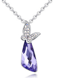 Fashion Purple Butterfly Pendant Decorated Necklace