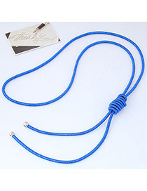 Fashion Sapphire Blue Pure Color Decorated Knot Design Necklace