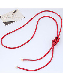 Fashion Red Pure Color Decorated Knot Design Necklace