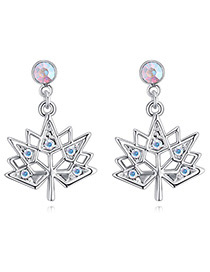 Fashion Multi-color Maple Leaves Shape Design Simple Earrings