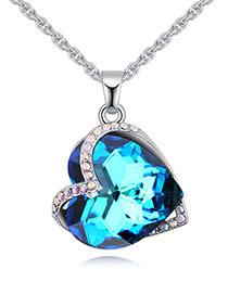 Fashion Blue Heart Shape Diamond Decorated Necklace
