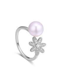Elegant Silver Color Flower Shape Decorated Open Rings