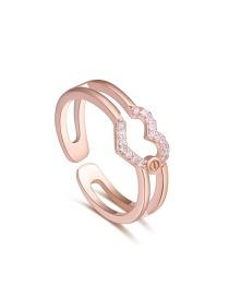 Elegant Gold Color Heart Shape Decorated Open Earrings