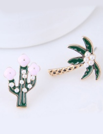 Lovely Green Coconut Tree Shape Decorated Earrings