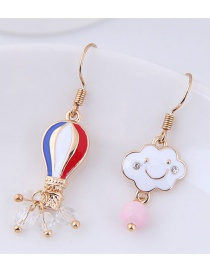 Fashion Red+blue+gold Color Cloud Shape Decorated Earrings