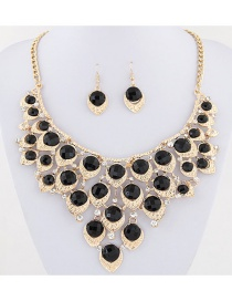 Elegant Black Diamond Decorated Jewelry Set
