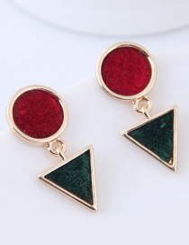 Fashion Red+green Geometric Shape Decorated Earrings