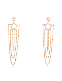 Fashion Champagne Star Shape Decorated Earrings