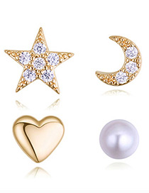 Fashion Champagne Star&moon Shape Decorated Earrings