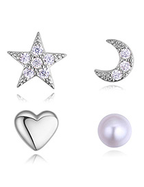 Fashion Silver Color Star&heart Shape Decorated Earrings