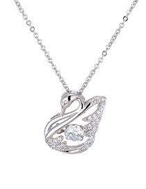Elegant Silver Color Swan Shape Decorated Necklace