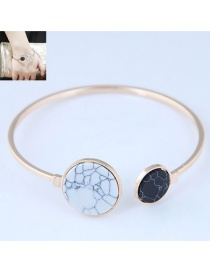Fashion White+black Round Shape Decorated Bracelet