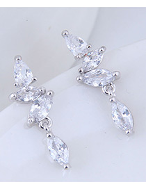 Sweet Silver Color Oval Shape Diamond Decorated Earrings
