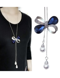 Fashion Dark Blue Bowknot Pendant Decorated Necklace