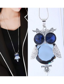 Fashion Dark Blue Owl Shape Pendant Decorated Necklace