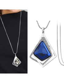 Fashion Dark Blue Geometric Shape Pendant Decorated Necklace