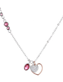 Fashion Pink Heart Shape Decorated Necklace