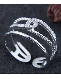 Fashion Silver Color Multi-layer Shape Decorated Opening Ring