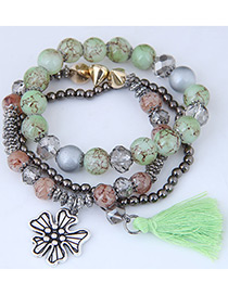 Fashion Green Tassel Shape Decorated Multilayer Bracelet