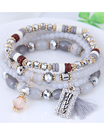 Fashion Gray Square Shape Decorated Multilayer Bracelet
