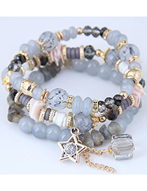 Fashion Gray Star Shape Decorated Multilayer Bracelet