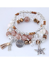 Fashion Pink Starfish Shape Decorated Multilayer Bracelet
