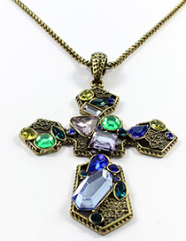 Trendy Antique Bronze Cross Shape Decorated Simple Necklace