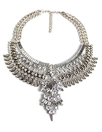 Trendy Silver Color Full Diamond Decorated Pure Color Necklace