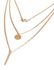 Trendy Gold Color Vertical Shape Decorated Pure Color Necklace