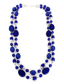 Trendy Blue Beads Decorated Double Layer Necklace