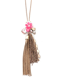 Trendl Gold Color Tassel&flower Decorated Simple Necklace