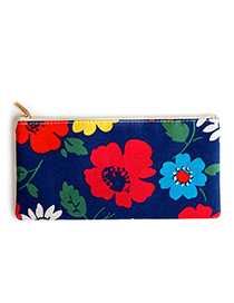 Fashion Sapphire Blue Flower Pattern Decorated Cosmetic Bag
