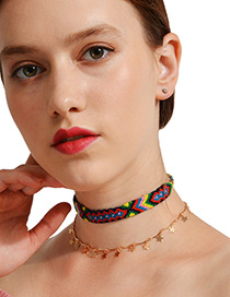 Fashion Gold Color+green Star Shape Decorated Choker