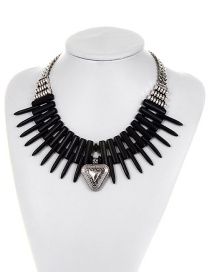 Fashion Black Triangle Shape Decorated Simple Necklace