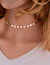 Trendy Gold Color Sequins Decorated Pire Color Choker