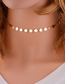 Trendy Gold Color Rhombus Shape Decorated Pure Color Choker