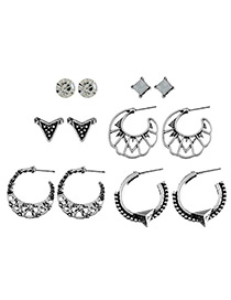 Elegant Antique Silver Pure Color Decorated Hollow Out Earrings (6pairs)