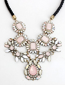 Trendy Pink Gemstone Decorated Flower Shape Necklace