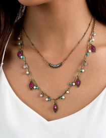 Fashion Multi-color Beads&diamond Decorated Double Layer Necklace