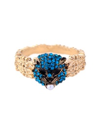 Fashion Blue+gold Color Leopard Head Shape Decorated Simple Ring
