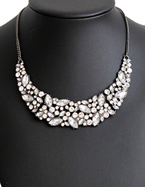 Fashion White Oval Shape Diamond Decorated Pure Color Necklace